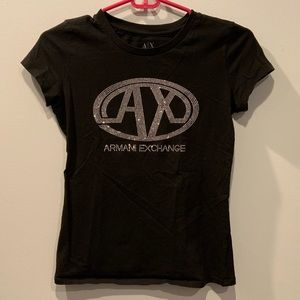 Armani Exchange Black Sequin short sleeve top, S